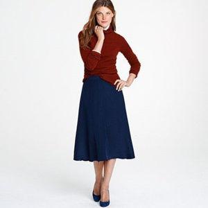 J. Crew Liquid Silk Navy Blue Midi Skirt